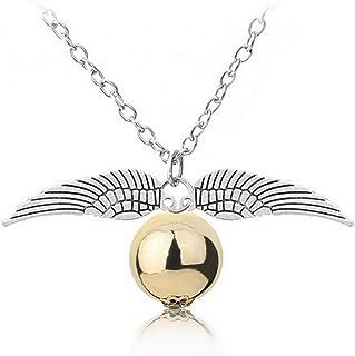 Collar con colgantes de alas de ángel de plata y perla dorada – Snitch – Joya con motivo místico de la amistad del corazón...