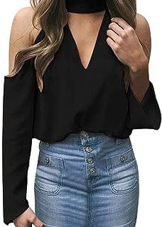 iTLOTL Women's Sexy Off The Shoulder Long Sleeve Halter V-Neck T-Shirt Blouses