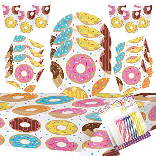 Donut Party Supplies Pack Serves 16: 9' Plates Luncheon Napkins Cups and Table Cover with Birthday Candles (Bundle for 16)