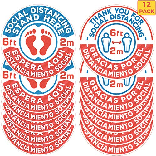 12 Pack 8-Inch Bilingual Social Distancing Floor Sticker Decals - Professional English/Spanish Anti-Slip, Waterproof 6 Feet Social Distancing Floor Signs - Removable, for Hard Floors Or Carpet