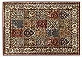 CASPIAN GHOM echter klassischer Orient Felderteppich handgeknüpft in rot-beige, Größe: 170x240 cm