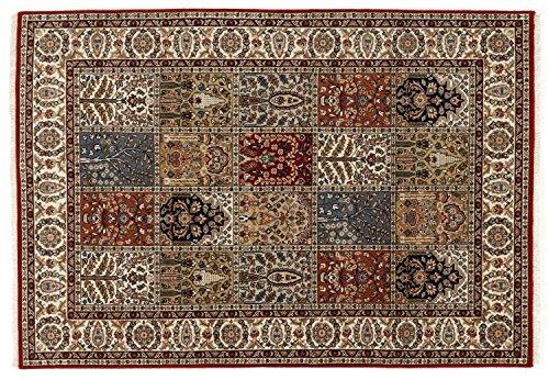CASPIAN GHOM echter klassischer Orient-Felder-Teppich handgeknüpft in rot-beige, Größe: 80x250 cm