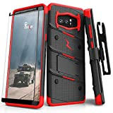 ZIZO Bolt Series for Samsung Galaxy Note 8 Case Military Grade Drop Tested with Tempered Glass Screen Protector Holster Black RED