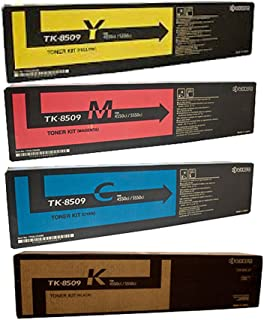 Kyocera TK-8509 TasKalfa 4550 4551 5550 5551 Toner Cartridge Set (Black Cyan Magenta Yellow, 4-Pack) in Retail Packaging