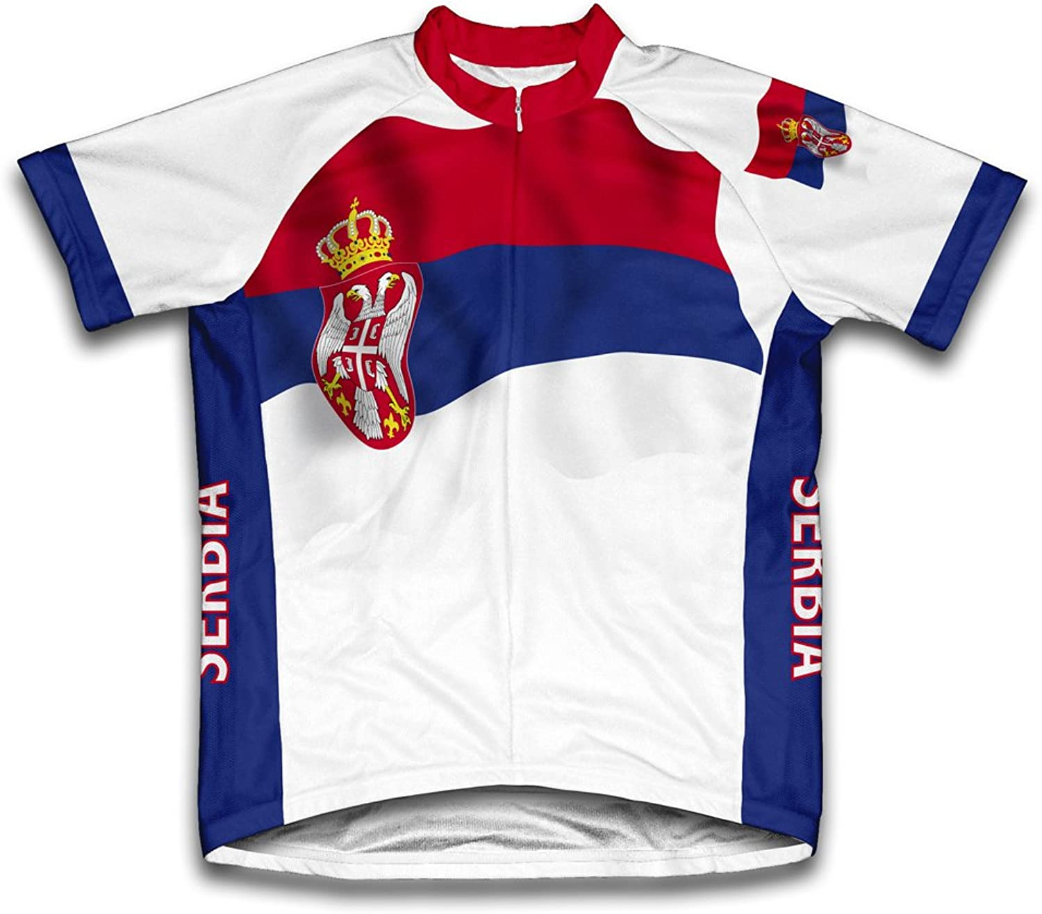Serbia Flag Short Sleeve Cycling Jersey for Men