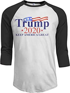 Men Make America Great Again Our President Donald Trump Slogan with USA Funny Tee 3/4 Sleeve Black
