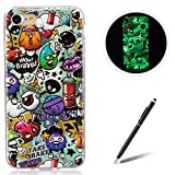 for Apple iPhone 7 4.7 Inch TPU Case Coque Housse Feeltech Luminous Noctilucent Green Glow Soft Rubber Bumper Protective Cover Skin Shell Stylish Unique Colourful Pattern Peinture Graffiti