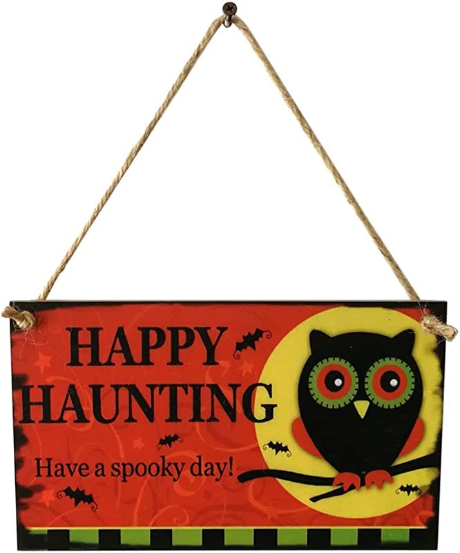 Rgqwepbtt Halloween Decoration Happy Haunting Wooden Owl Wall Door Haunted House Hanging Plaque Party Prop Owl