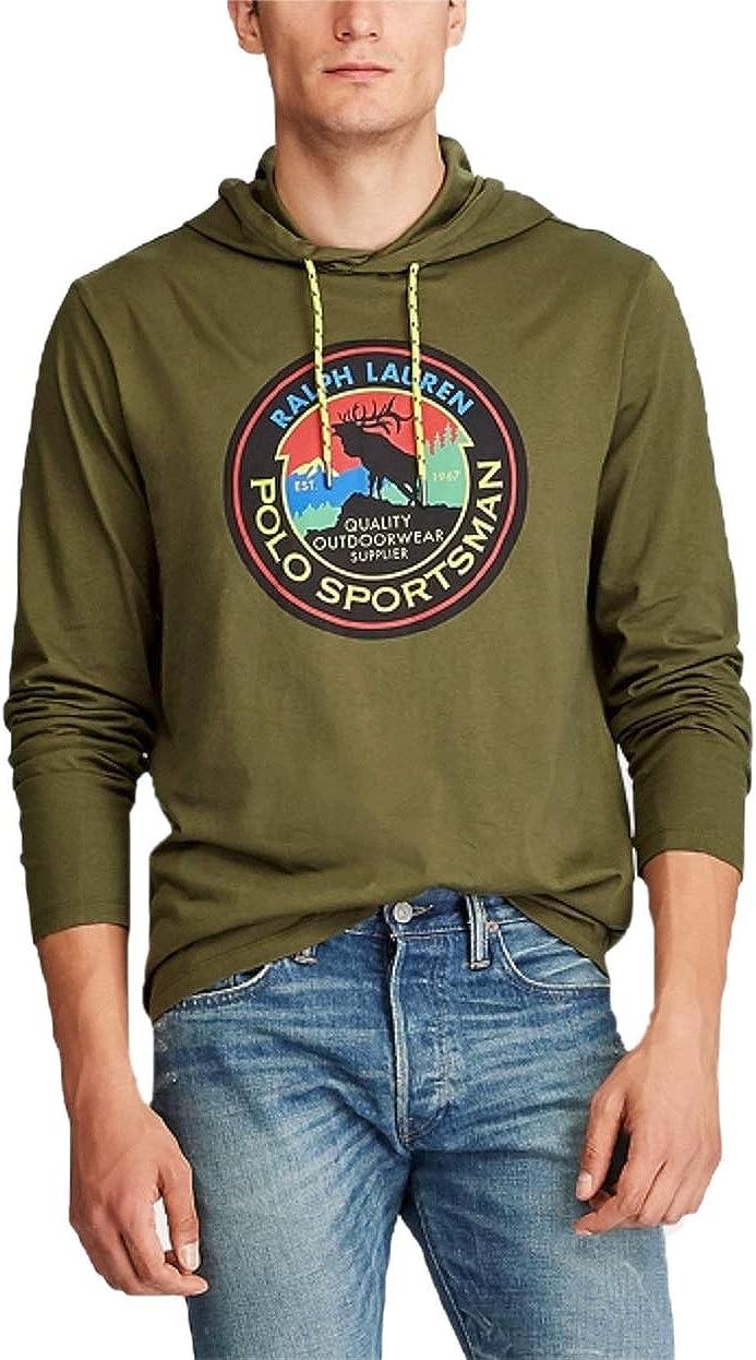 Ralph Lauren Polo Men's Hooded Jersey Sportsman T-Shirt Small Green