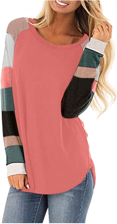 ONHUON Sweatshirt for Women Pullover Long Sleeve Fall Hoodies Color Block Tunics Loose Casual Tee Fashion Blouse