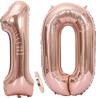 """2 Globos Número 10 Oro Rosa, Globo de Papel Aluminio Gigante Numero 10 Globo 100cm con Cinta 40"""" Globo Inflable de Helio para Decoración de Fiesta de Cumpleaños Fiesta de Graduación"""