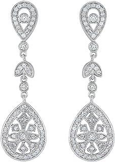 4aab8f817ce5 Ever Faith - Aretes para Mujer Cristal Zirconia Cúbica Inspirado por Great  Gatsby Pendiente Colgante para