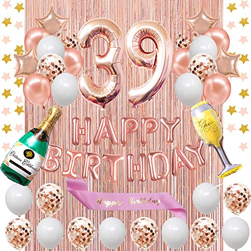 Fancypartyshop 39th Birthday Decorations - Rose Gold Happy Birthday Banner and Sash with Number 39 Balloons Latex Confetti Balloons Ideal for Girl and Women 39 Years Old Birthday Rose Gold