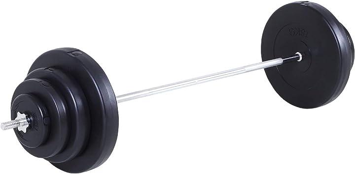 Set bilanciere e dischi 70kg 8 dischi pesi rivestiti in pvc e barra in ferro 170x40.5x40.5cm nero homcom A91-074