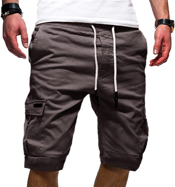XUNFUN Men's Outdoors Cargo Shorts Elastic Waist Workout Shorts Multi-Pocket Stretchy Cotton Twill Summer Beach Shorts