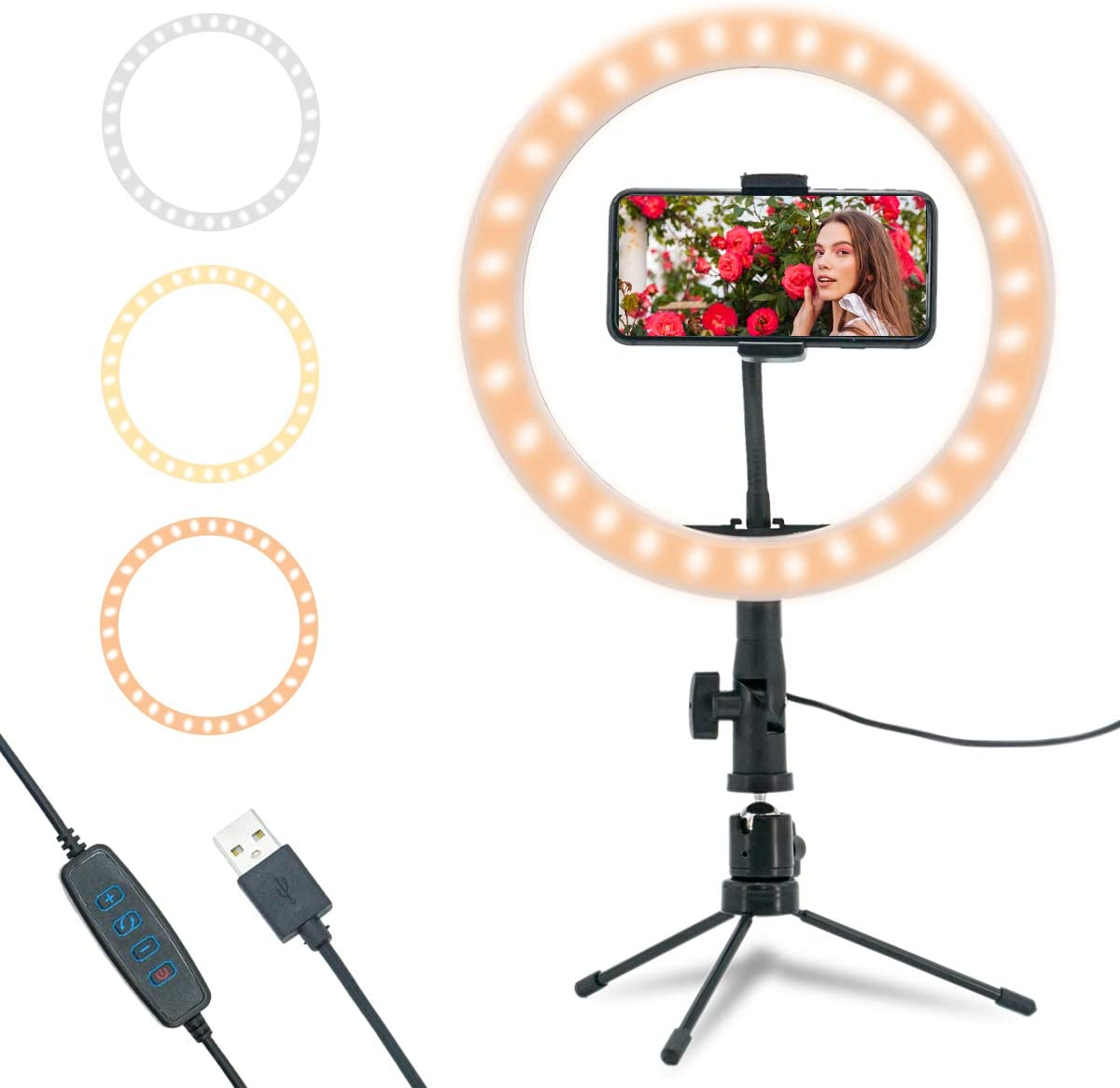 """10"""" LED Ring Light for Phone Light Camera with Tripod Supp"""