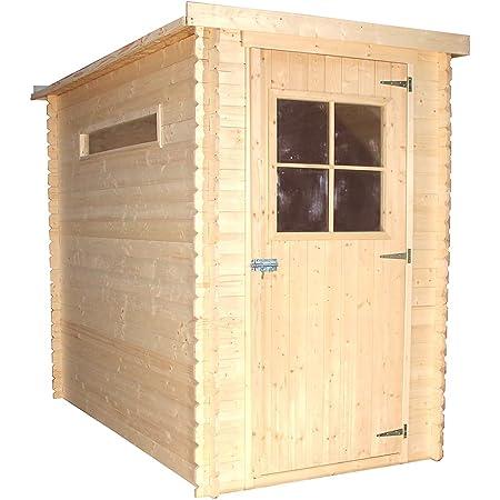 TIMBELA Abri de Jardin en Bois M306 - Stockage extérieur l239xL144xH198 cm/2.63 m2 - Petit abri à Outils, Local à vélos - Toit imperméable, fenêtres