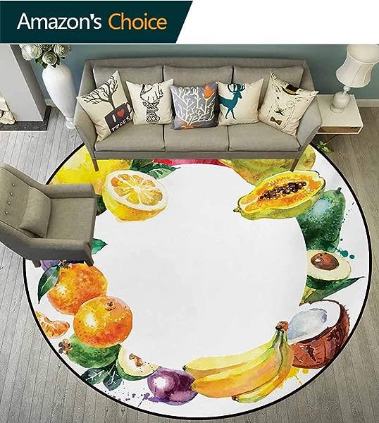 橄榄球水果超柔软圆形女孩地毯自然食物香蕉柠檬鳄梨橙子椰子新鲜农业艺术印花婴儿房装饰圆形地毯直径 35 英寸多色