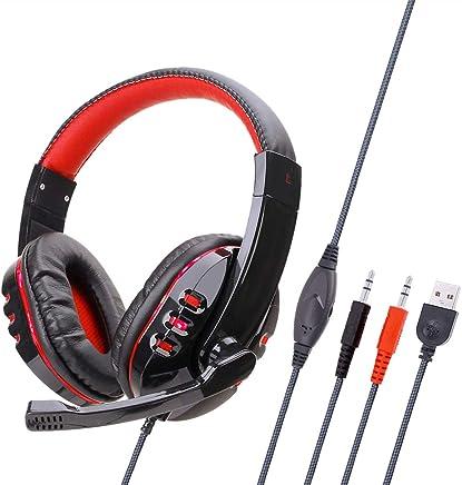 Mettime Cuffie Gaming,Cuffie, Over Ear Cuffie con Microfono e Controllo del Volume e Stereo per PC/Laptop,Rosso - Trova i prezzi più bassi
