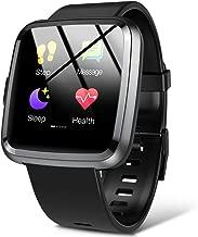 Smartwatch, Hommie S2 Reloj Inteligente con Pantalla Táctil Completa, Pulsera Actividad Inteligente ImpermeableIP67 con 8 Modos Deportes, Pulsómetro, Monitor de Caloría y Sueño, 2 Correas, Negro