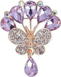 Bullidea Metal Pin Badge Brooch Rhinestone Butterfly Waterdrops Christmas Festive Brooch Pin Corsage
