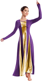 IBAKOM Womens Liturgical Praise Lyrical Dance Dress Loose Fit Full Length Metallic Color Block Long Sleeve Worship Costume