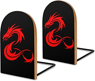 Red Dragon Book Ends for Shelves Wooden Bookends Holder for Heavy Books Divider Modern Decorative 1 Pair