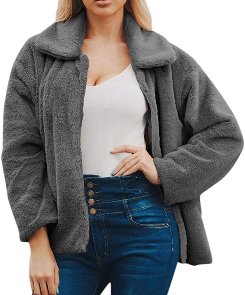 iYYVV Womens Ladies Warm Faux Wollen Coat Jacket Winter Solid Zipper Loose Outerwear : Clothing, Shoes & Jewelry