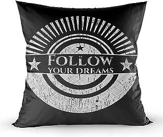 Ducan Lincoln Pillow Case 2PC 18X18,Fundas De Almohada,Fundas De Funda De Almohada De Tiro Cuadrado Cojín Follow Your Dreams Chalkboard Ambos Lados