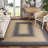 Safavieh Braided Collection BRD311A Hand-woven Reversible Area Rug, 8' x 10', Black/Grey