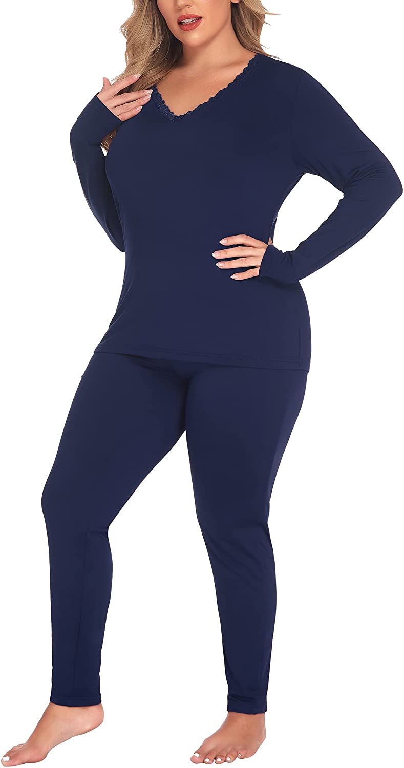IN'VOLAND Women's Plus Size Thermal Long Johns Sets Fleece