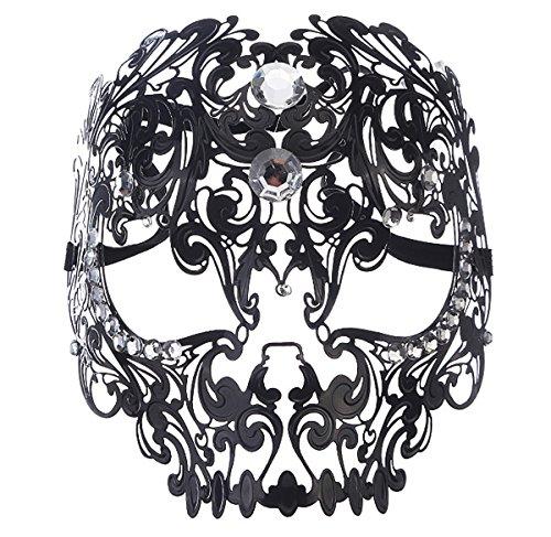 Masquerade Mask Mardi Gras Costume Mask Halloween Cosplay Metal Party Mask (Black)