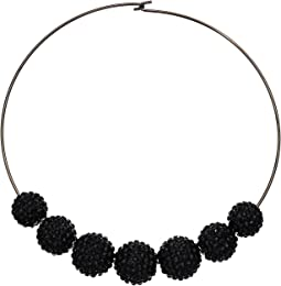 Kenneth Jay Lane - Gunmetal Wire Jet Pave Bead Necklace