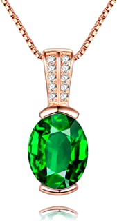 Uloveido Elegant 925 Sterling Silver Created Oval Sapphire Emerald Pendant Birthstone Necklace for Women (Gift Boxed) LN004