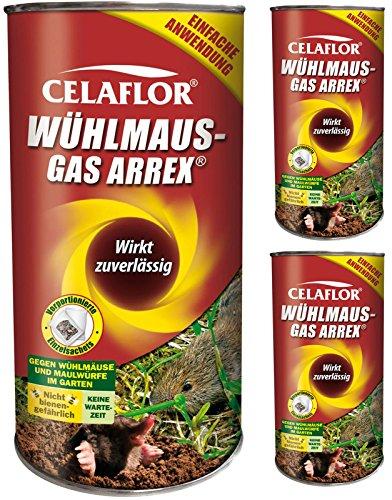 GARDOPIA Sparpaket: 3 x 250 g Celaflor Wühlmaus-Gas Arrex Maulwurf Vergrämungs Vertreibungsmittel + Gardopia Zeckenzange mit Lupe