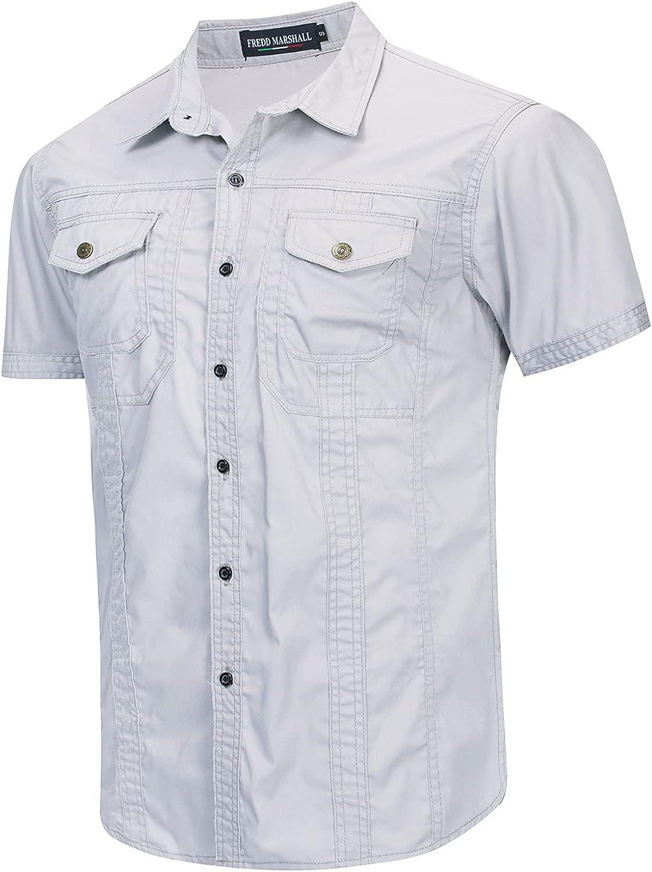 Men's Short Sleeve Classic Woven Shirt Men's Casual Linen Button Down Shirt Business Chambray Dress Shirt