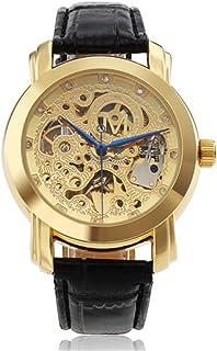 13596e92d39b ODM de los hombres Moda Lujo Estilo Oro Esqueleto Auto mecánico reloj de  muñeca negro correa
