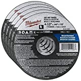 Milwaukee 4-1/2 in. Aluminum Oxide Cutting Cut-Off Wheel 0.045 in. thick x 7/8 in. (Pack of 5).