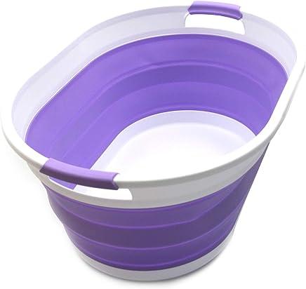 SAMMART Collapsible Plastic Laundry Basket - Oval Tub/Basket - Foldable Storage Container/Organizer - Portable Washing Tub - Space Saving Laundry Hamper (Lt. Purple)