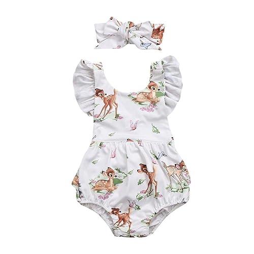 de9d0ccbaf69 Lanhui Toddler Baby Girl Clothes Deer Romper Headband 2Pcs Set Outfit
