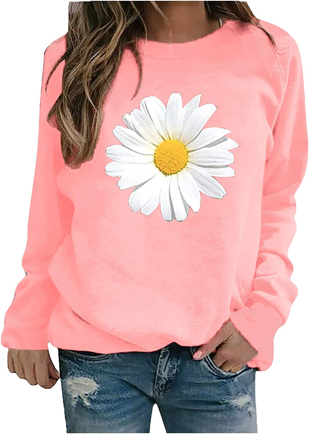 AODONG Sweater for Women, Fashion Daisy Print Long Sleeve Sweatshirts Casual Floral Pullover Blouse