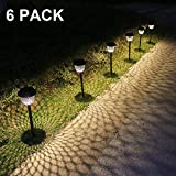 Solar Pathway Lights Outdoor 6 Pack Solar Garden Lights Water Density Led Landscape Lantern Walkway Path Lawn Patio Yard (Bronze)