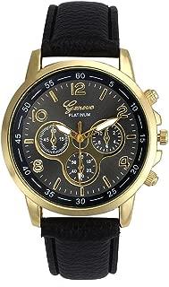 Unisex Cool Casual Geneva Faux Leather Ninasill Quartz Analog Wrist Watch Watches Round Case