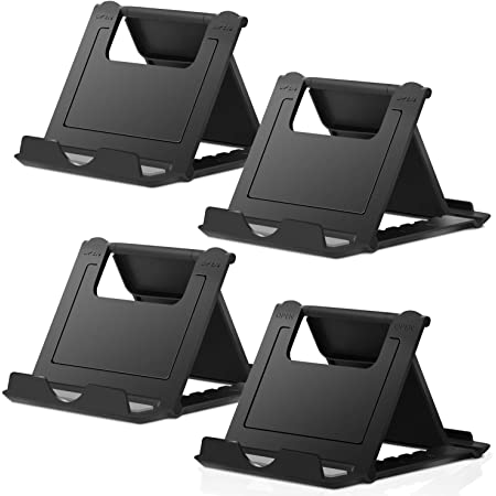 """Elimoons 4 Pack Cell Phone Stands, Universal Foldable Tablet Stand Multi-Angle Pocket Desktop Holder Cradle Compatible with iPhone 11 Pro Xs Max X 8 7 6s Plus, All Android Smartphones Tablets (6-10"""")"""