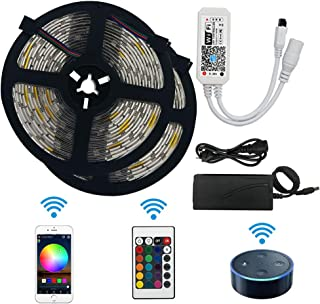Aptech LED Strip Lights, WiFi Wireless Smart Phone Controlled Waterproof Light Strip LED Kit 5050 LED Lights,Working with ...