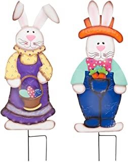 Miles Kimball Easter Bunny Boy and Girl by Fox River Creations, 2 Piece Set, Metal Garden Décor Stakes