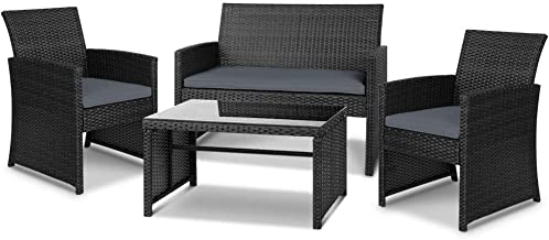 Gardeon 4pc Outdoor Furniture Rattan Chair Table Set-Black
