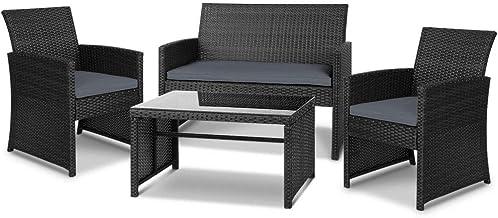 Gardeon 4pc Outdoor Furniture Rattan Chair Table Set-Black