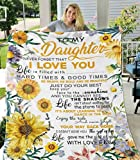 Sunflower Love Letter to My Daughter Fleece Blanket Ultra-Soft Micro Light Weight Warm Bed Throw Blanket (Black, 80'x60'for Adult)