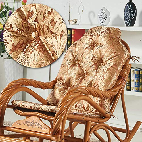 SADDPA Rocking Chair Cushion With Ties, Patio Seat Cushions High Back Printed Seat Cushion Indoor Outdoor Chaise Lounge Cushions